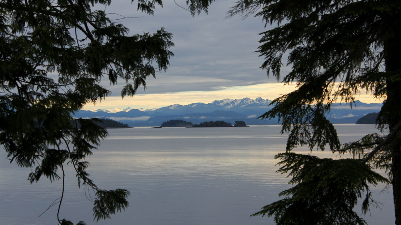 Looking out over Broughton Archipelago from Telegraph Cove, Vancouver Island