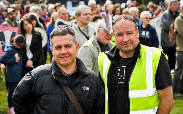 Andy Gilbert and Dominic Dyer, Exeter Badger March, 2014
